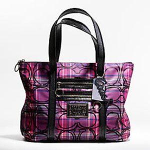 COACH Poppy Tartan Signature Glam Tote Bag